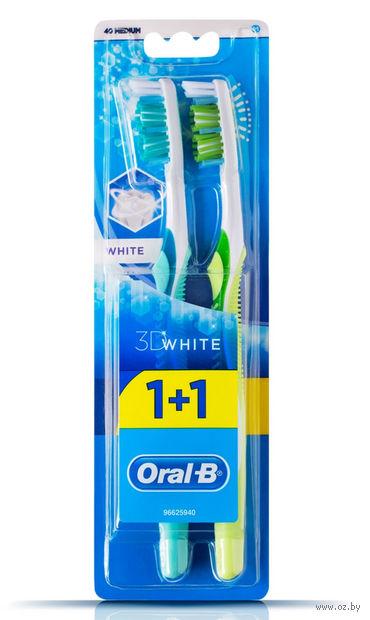 """Зубная щетка """"3D White. Отбеливание"""" (средней жесткости, 2 шт.) — фото, картинка"""