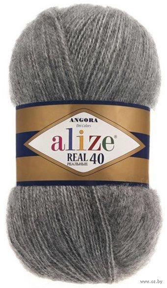 "Пряжа ""ALIZE. Angora Real 40 №182"" (100 г; 480 м; средне-серый) — фото, картинка"