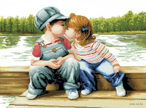 "Вышивка крестом ""Поцелуй у реки"""