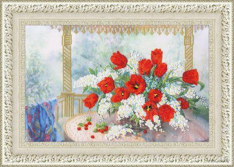 """Вышивка бисером """"Тюльпаны и черёмуха"""" (260х395 мм) — фото, картинка"""