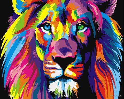 "Картина по номерам ""Радужный лев"" (400х500 мм) — фото, картинка"