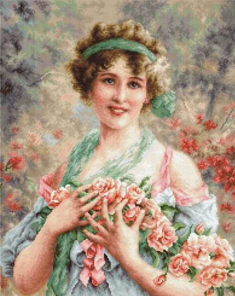 "Вышивка крестом ""Девушка с розами"" (285х355 мм) — фото, картинка"