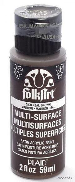 "Краска акриловая ""FolkArt Multi-Surface"" (темно-коричневый, 59 мл; арт. PLD-02908)"