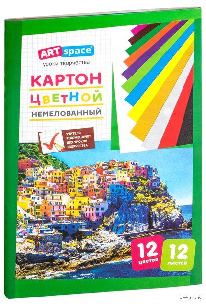 Картон цветной немелованный (А4; 12 цветов; 12 листов; в ассортименте) — фото, картинка