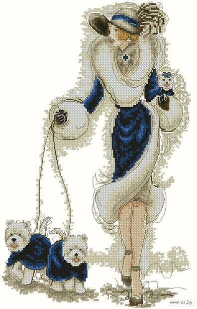 """Вышивка крестом """"Дама с собаками"""" (210x300 мм) — фото, картинка"""