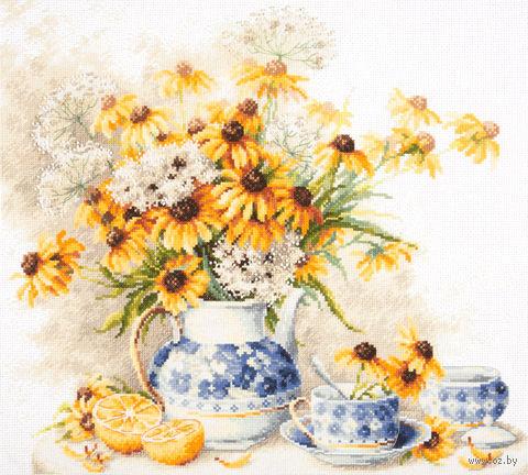 """Вышивка крестом """"Цветочный чай"""" (400х350 мм) — фото, картинка"""