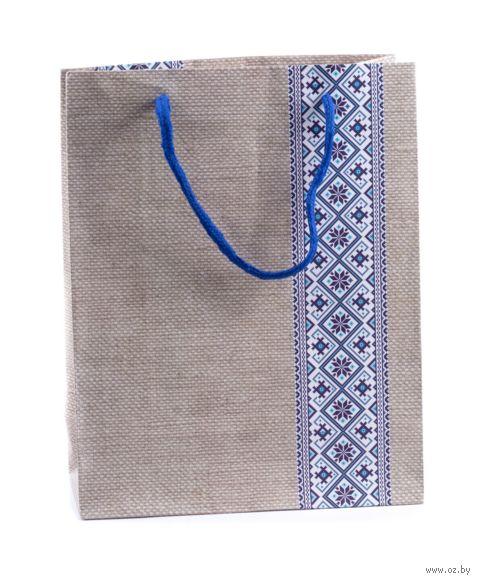 """Пакет бумажный подарочный """"Орнамент синий"""" (18х23х8 см) — фото, картинка"""
