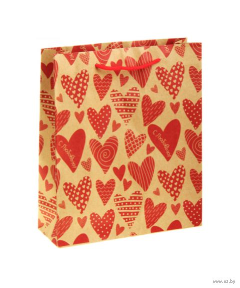 "Пакет бумажный подарочный ""Сердечки"" (23х27х8 см; арт. 10772286)"