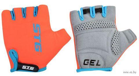 Перчатки велосипедные (S; серо-голубо-оранжевые) — фото, картинка
