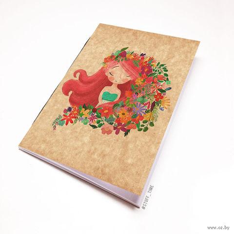 """Блокнот крафт """"Девушка с цветами"""" А7 (939)"""