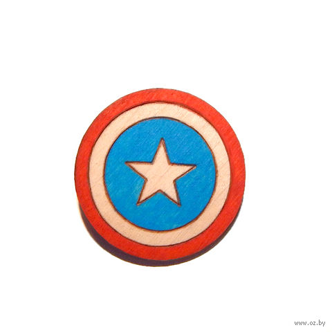 "Значок деревянный ""Marvel. Капитан Америка"" — фото, картинка"