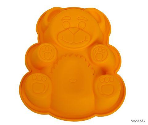 """Форма для выпекания силиконовая """"Мишка"""" (180х150x38 мм; оранжевая) — фото, картинка"""