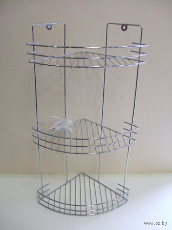 Полка для ванной угловая металлическая 3-ярусная (445х190х190 мм)