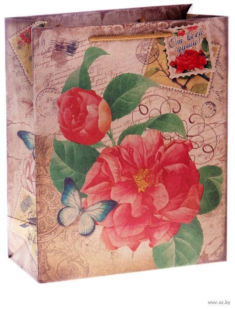 """Пакет бумажный подарочный """"Цветок"""" (20х25х12 см; арт. 10645969)"""