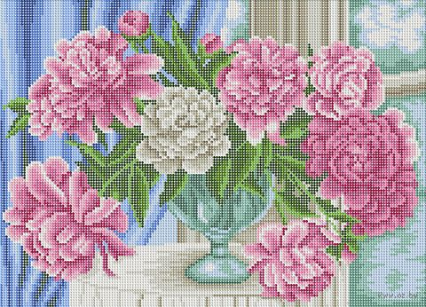 """Алмазная вышивка-мозаика """"Пионы у окна"""" (500х360 мм) — фото, картинка"""