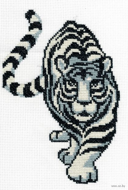 "Вышивка крестом ""Белый тигр"" (160х240 мм) — фото, картинка"
