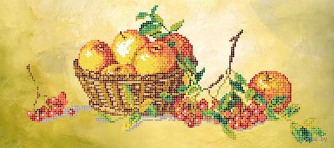 """Вышивка бисером """"Натюрморт с яблоками"""" (180х400 мм) — фото, картинка"""