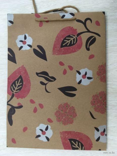 """Пакет бумажный подарочный """"Пламя цветов"""" (24х33х8 см; арт. 43736) — фото, картинка"""