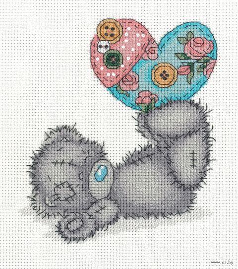 """Вышивка крестом """"Тедди с рукодельным сердцем"""" (145х160 мм) — фото, картинка"""