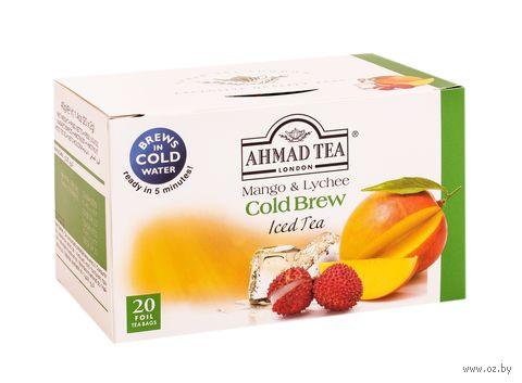 """Чай зеленый """"Ahmad Tea. Cold Brew. Манго и личи"""" (20 пакетиков) — фото, картинка"""