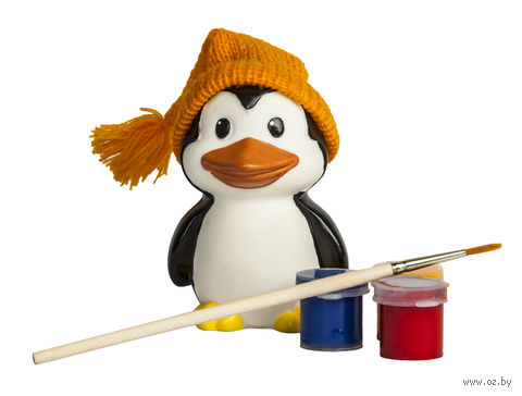 """Набор для росписи по пластику """"Раскрась игрушку. Пингвиненок в шапочке"""" — фото, картинка"""