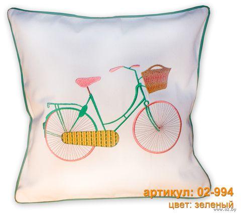 "Подушка ""Велосипед"" (40x40 см; зелёная) — фото, картинка"