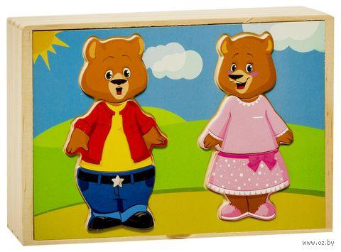 """Деревянная игрушка """"Два медведя. Набор медвежат"""""""