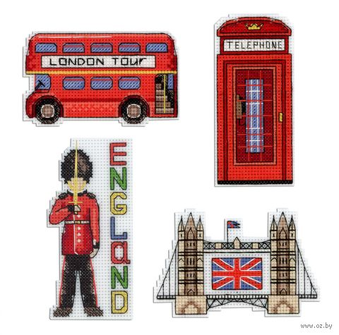 """Вышивка крестом """"Англия"""" (110х60 мм; на магните) — фото, картинка"""