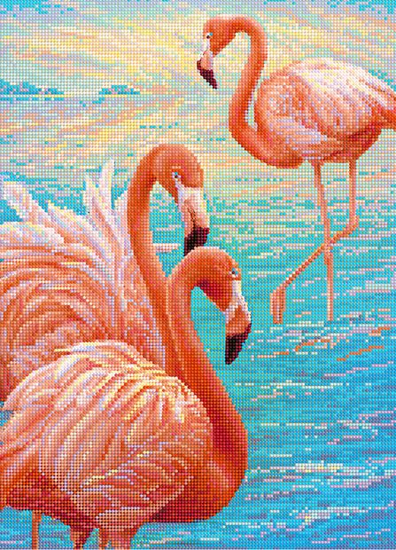 "Алмазная вышивка-мозаика ""Розовые фламинго"" (500х360 мм) — фото, картинка"