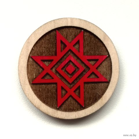 "Магнит деревянный ""Беларускія Арнаменты. Цнатлівы ромб"" — фото, картинка"