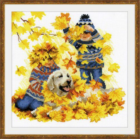 """Вышивка крестом """"Осенние каникулы"""" (300x300 мм) — фото, картинка"""