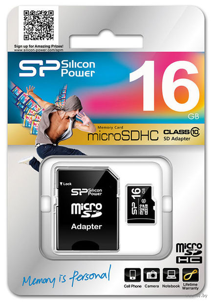 Карта памяти micro SDHC 16Gb Silicon Power Class 10 (+ SD Adapter)