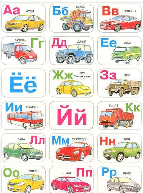 """Набор магнитов """"Магнитная азбука. Автомобили"""""""
