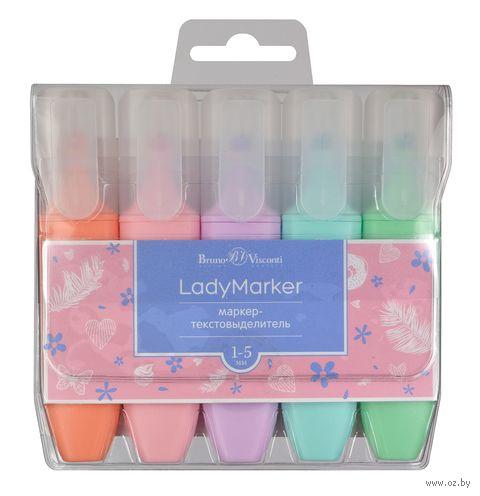 """Набор маркеров текстовых """"LadyMarker"""" (5 цветов) — фото, картинка"""