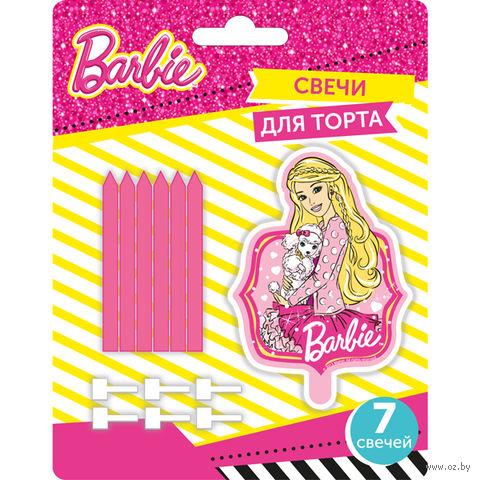 """Набор свечей для торта """"Барби"""" (1 фигурная + 6 шт)"""