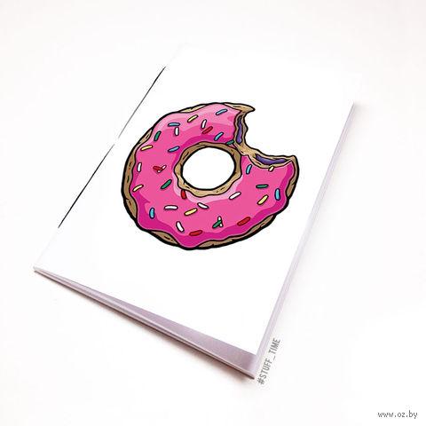 """Блокнот белый """"Пончик. Симпсоны"""" А6 (001)"""
