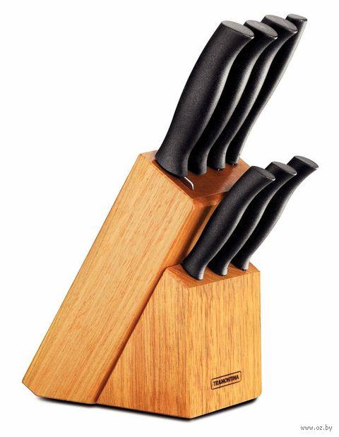 Набор ножей металлических с пластмассовыми ручками (6 шт) + вилка в деревянной подставке (арт. 23099082)