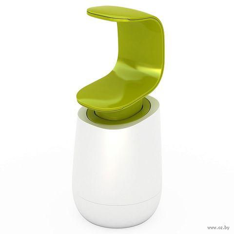 """Дозатор для жидкого мыла пластмассовый """"C-pump Soap Dispenser"""" (бело-зеленый) — фото, картинка"""