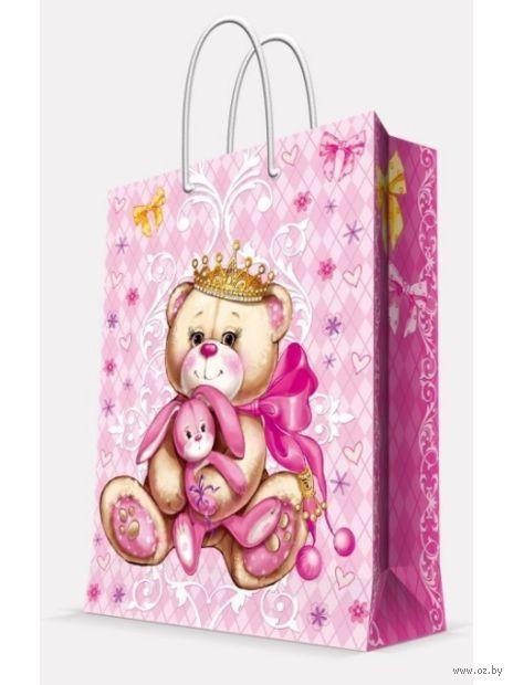 """Пакет бумажный подарочный """"Принцесса-медведица"""" (26х32,4х12,7 см; арт. 44200) — фото, картинка"""