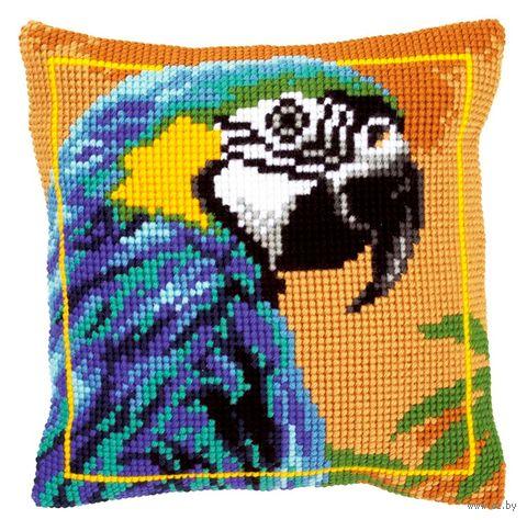 """Вышивка крестом """"Подушка. Синий попугай"""" (400х400 мм) — фото, картинка"""
