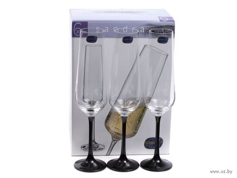 """Бокал для шампанского стеклянный """"Sandra"""" (6 шт.; 200 мл; арт. 40728/D4656/200) — фото, картинка"""