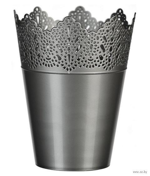 """Цветочный горшок """"Кружево"""" (16,5 см; серебряный) — фото, картинка"""