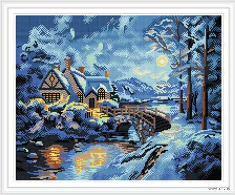 """Алмазная вышивка-мозаика """"Зимний ручей"""" (400х500 мм) — фото, картинка"""
