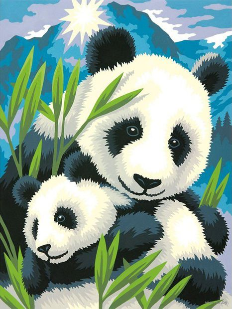 "Картина по номерам ""Панда и детеныш"" (305х230 мм; арт. DMS-73-91456)"