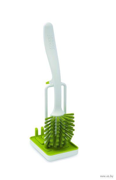 Щетка для мытья посуды на подставке (бело-зеленая)