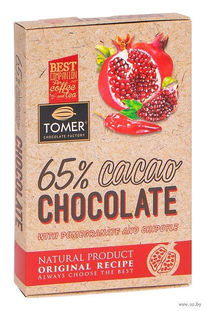 """Шоколад горький """"Tomer. С гранатом и перцем чипотле"""" (90 г) — фото, картинка"""