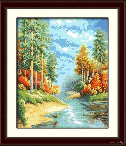 "Алмазная вышивка-мозаика ""Лесная речка"" (460х550 мм) — фото, картинка"