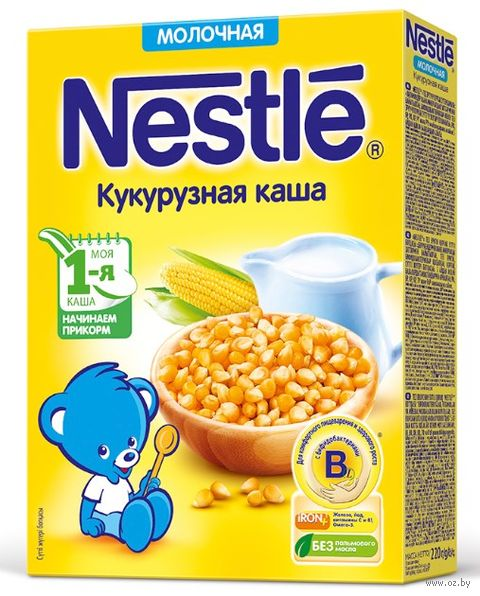 "Детская каша Nestle ""Молочная кукурузная"" (220 г) — фото, картинка"