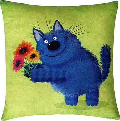 """Подушка """"Поздравление кота"""" (35x35 см; зелёная) — фото, картинка"""