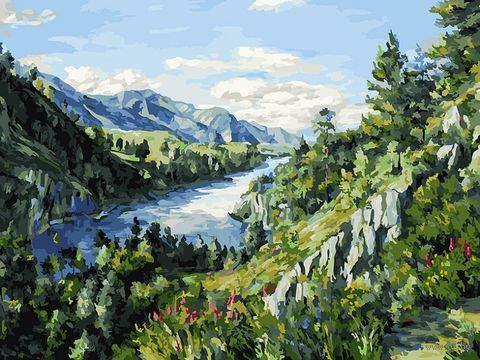 "Картина по номерам ""Река Катунь"" (300х400 мм) — фото, картинка"